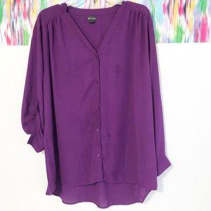 Covington purple long sleeve hi-low hem blouse